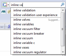 inlinevalidatie google searchbar