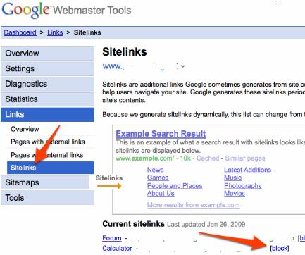 Webmaster Tools Sitelinks