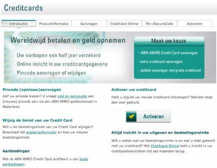 abnamro.nl AB test Versie A: sales