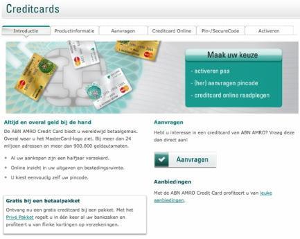 abnamro.nl AB test Versie B: services