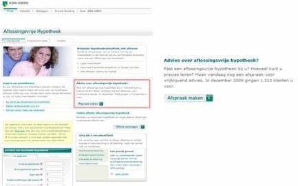 ABN AMRO website: social proof