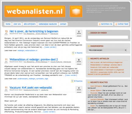 Webanalisten.nl screenshot oude homepage