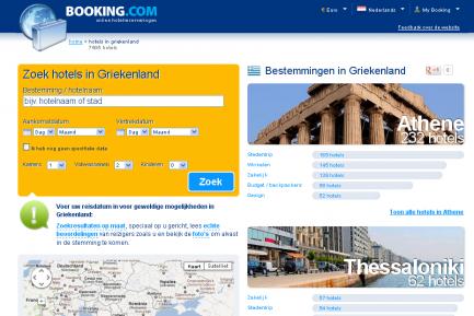 Afbeelding van Booking.com landingspagina