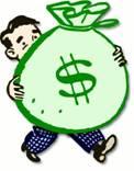 man met zak geld