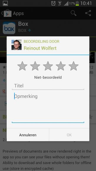 Google Play Beoordeling Zonder Toetsenbord