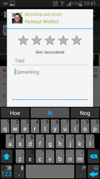 Google Play Beoordeling Met Toetsenbord