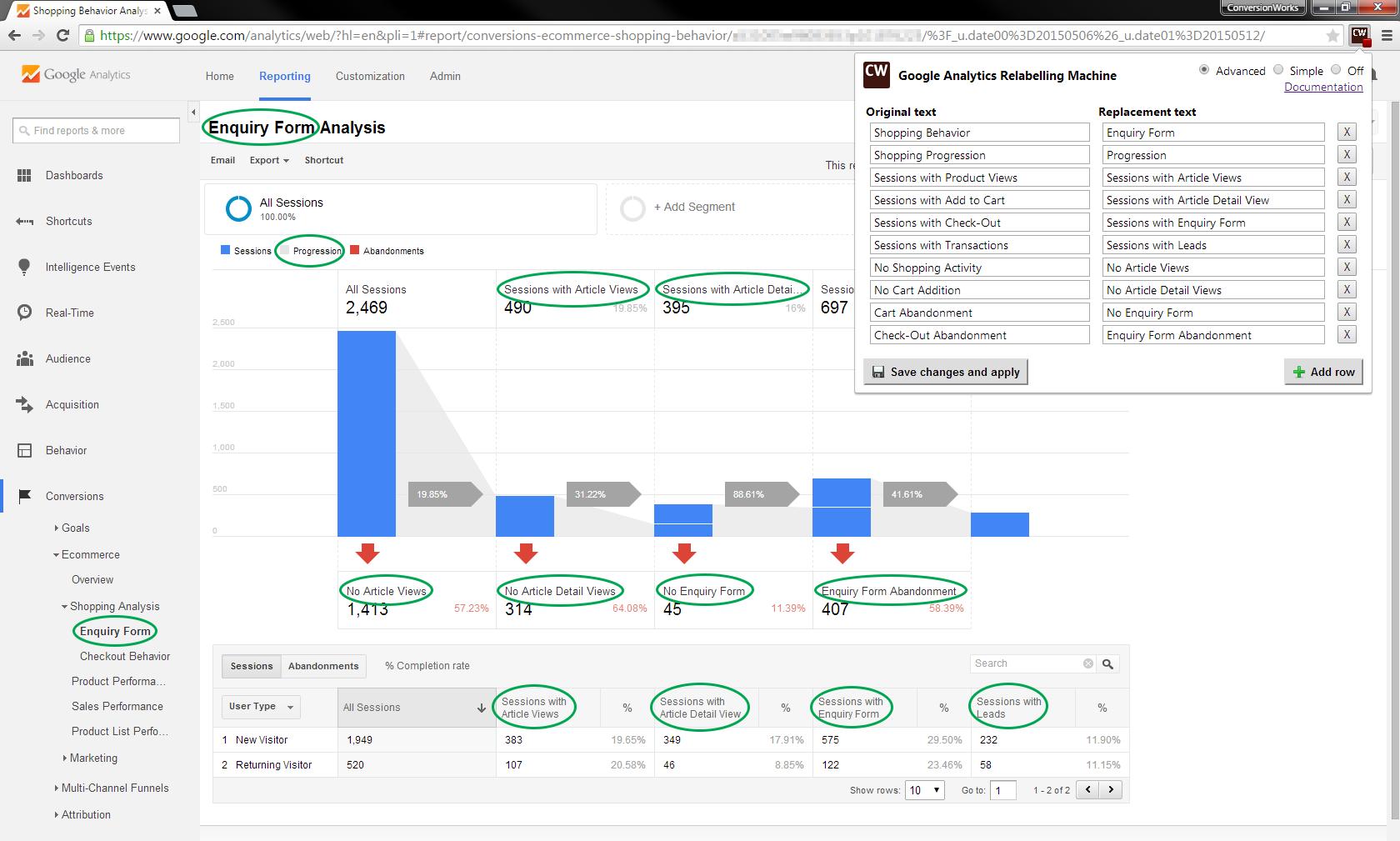 google analytics relabelling-machine