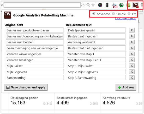 google analytics relabelling machine