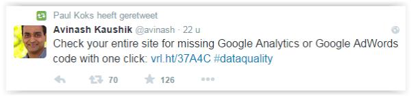 Debugging Google Analytics - Avinash tweet
