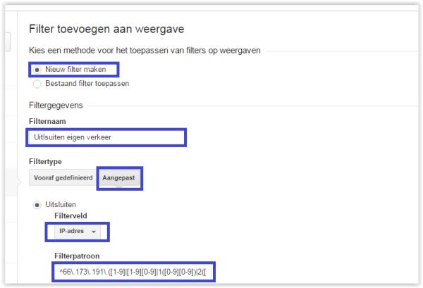 Filter uitsluiten eigen verkeer (IP range)
