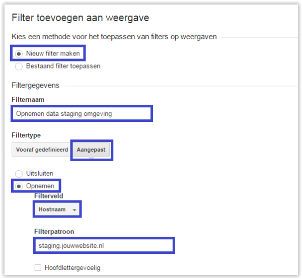 Google Analytics filter staging omgeving