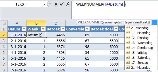 Weeknummer op basis van formule in tabel