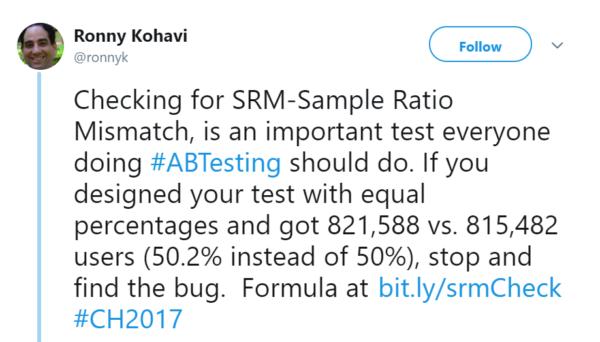 Sample Ratio Mismatch