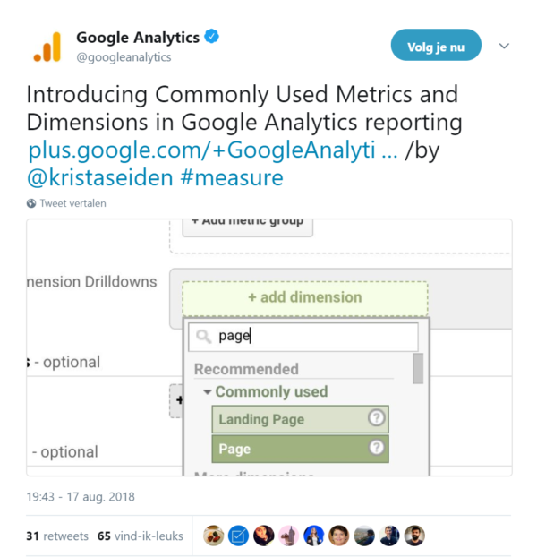 Printscreen tweet Google Analytics