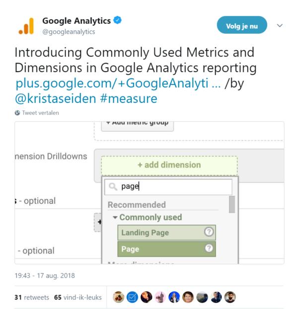Printscreen tweet Google Analytics